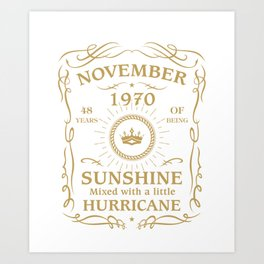 November 1970 Sunshine mixed Hurricane Art Print