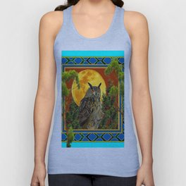 WILDERNESS OWL WITH FULL MOON & TREES TURQUOISE Unisex Tank Top