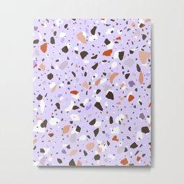 Liliac Orange Terrazzo Pattern Metal Print