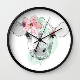 Cow with Hibiscus Wall Clock