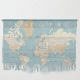 """Cream, brown and muted teal world map, """"Jett"""" Wall Hanging"""