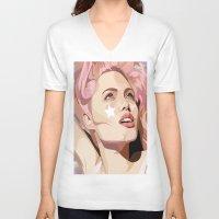 bubblegum V-neck T-shirts featuring Bubblegum  by Grace Teaney Art