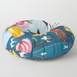 Cats and French Press Coffee Floor Pillow