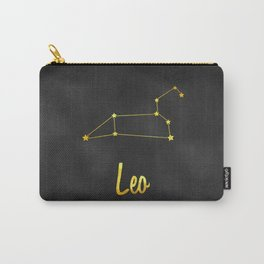 Leo Zodiac Constellation in Gold Carry-All Pouch