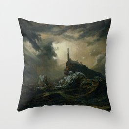 Carl Blechen - Stormy Sea with Lighthouse - German Romanticism - Oil Painting Throw Pillow