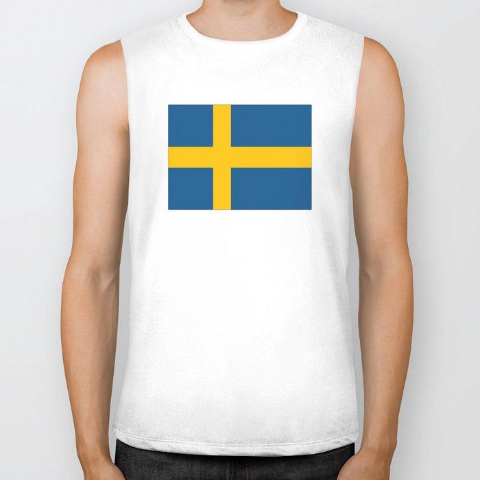 flag of sweden Biker Tank