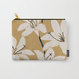 Amaryllis Floral Line Drawing, Beige and Navy on Yellow Ochre Carry-All Pouch