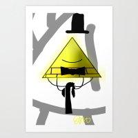 bill cipher Art Prints featuring Bill Cipher by Darkerin Drachen