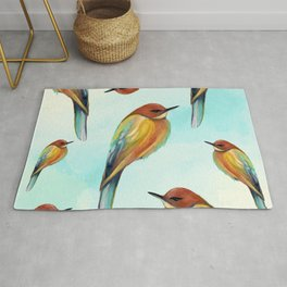 Watercolor Bird Pattern - Multicolor Feathers - Abstract Blue Sky Rug