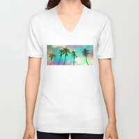 palm V-neck T-shirts featuring Palm trees  by mark ashkenazi