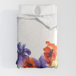 Cute watercolor flower background with poppies and irises in bright colors. Comforters