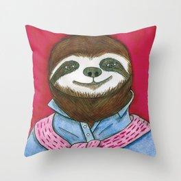 Preppy Sloth Throw Pillow