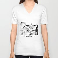 greek V-neck T-shirts featuring Greek Island by KostasK