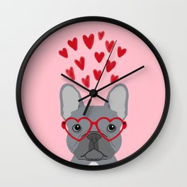 French Bulldog love valentines day heart glasses frenchie gifts Wall Clock
