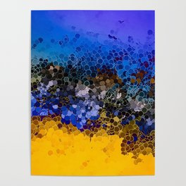 Blue and Summer Gold Circular Abstract Art Poster