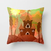 castle in the sky Throw Pillows featuring Castle by Ingrid Castile