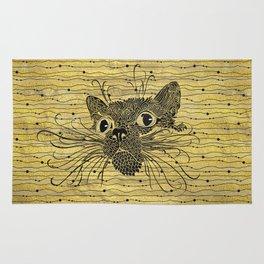 Black  Cat on Vintage gold pattern Rug