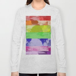 Rainbow Stripes - Abstract, textured, red, orange, yellow, green, blue, indigo, violet artwork Long Sleeve T-shirt
