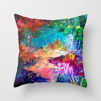 jazzberry Throw Pillows featuring WELCOME TO UTOPIA Bold Rainbow Multicolor Abstract Painting Forest Nature Whimsical Fantasy Fine Art by EbiEmporium