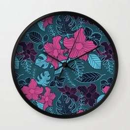 Modern Bold Jungle Floral Pattern Memphis Style Wall Clock