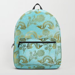 Mermaid Ocean Whale Friends - Teal And Gold Pattern Backpack