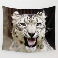snow leopard Wall Tapestries featuring Snow Leopard by MehrFarbeimLeben