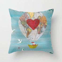 Christmas Santa Claus in a Hot Air Balloon for Peace Throw Pillow