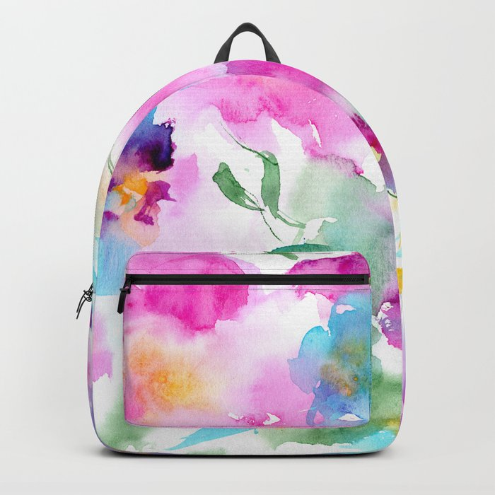 Floral abstraction #4 || watercolor Backpack