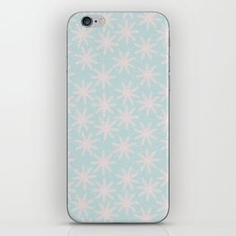Merry christmas - Knit pink snowflakes and snow on aqua background iPhone Skin