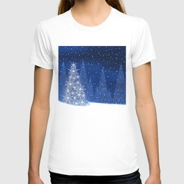 Snowy Night Christmas Tree Holiday Design T-shirt