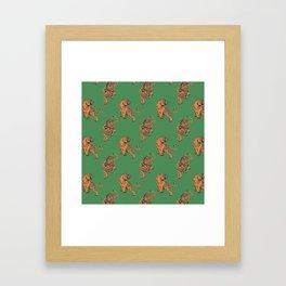 tiger print green Framed Art Print