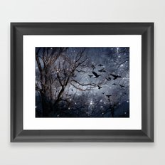 Woodland Crows And Bursting Stars Framed Art Print