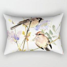Sparrows and Spring Blossom Rectangular Pillow