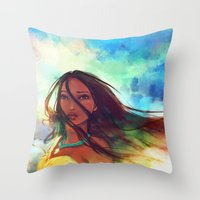watercolor Throw Pillows featuring The Wind... by Alice X. Zhang