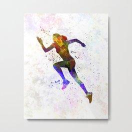 Woman runner running jogger jogging silhouette 03 Metal Print