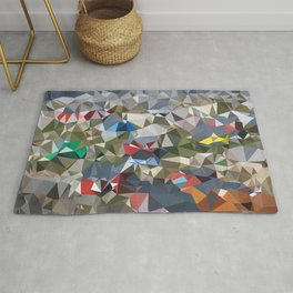 Greenland Village Low Poly Geometric Triangles Mathematical Art Rug