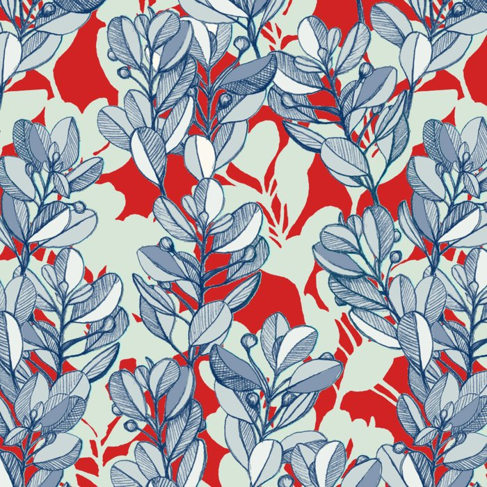Leaf and Berry Sketch Pattern in Red and Blue Leggings