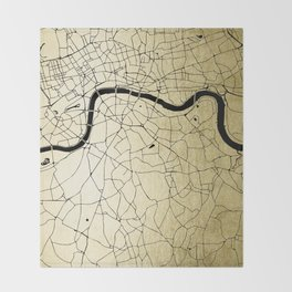 London Gold on Black Street Map Throw Blanket