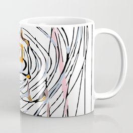 drawing square triangle and circle pattern abstract in orange blue and pink Coffee Mug