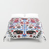 folk Duvet Covers featuring The Pug of Folk  by Huebucket