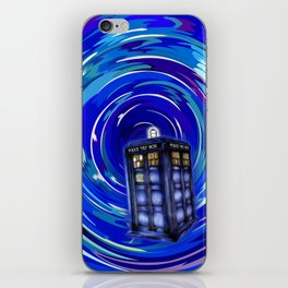Blue Phone Box with Swirls iPhone Skin