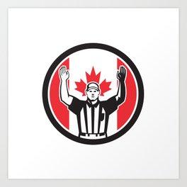 Canadian Football Referee Canada Flag Icon Art Print