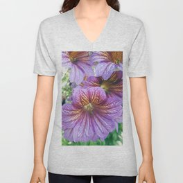 Purple Salpiglossis Floral Unisex V-Neck