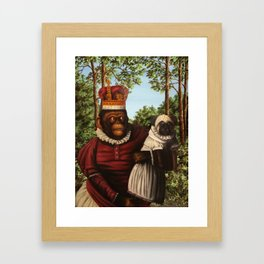 Monkey Queen with Pug Baby Framed Art Print
