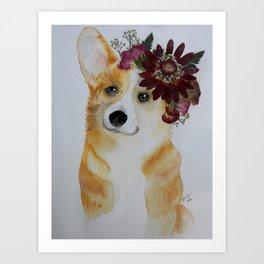 Corgi in Crown Art Print