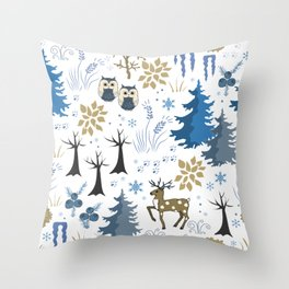 cute blue white beige evergreen pine cone snowflakes winter woodland animal Throw Pillow