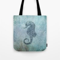 sea horse Tote Bags featuring sea & horse by Steffi Louis