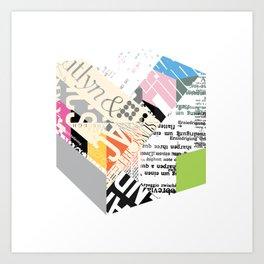 Newsprint Cube Art Print
