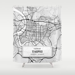 Taipei Taiwan City Map with GPS Coordinates Shower Curtain