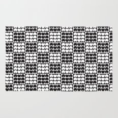 Hob Nob Black White Quarters Rug